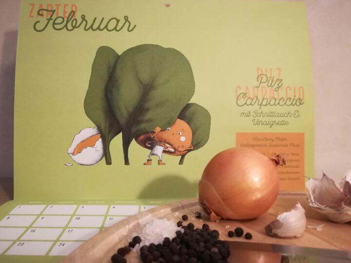 Zarter Februar: Pilz Carpaccio mit Schnittlauch-Ei-Vinaigrette